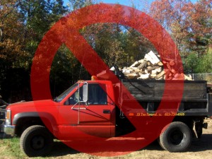 Overloaded Firewood Truck